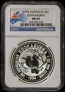 1994 Australia 1 oz Silver Kookaburra S$1 NGC MS 69