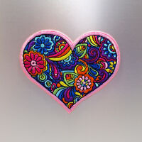 Hippy Heart Patch — Iron On Badge Embroidered Motif — Hearts Love Colourful Fun