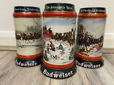 More details for budweiser steins x3 collector's series 90,91,92 christmas holidays bar pub beer