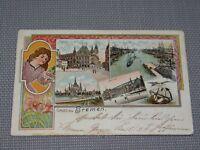 """AK Litho """"Gruß aus Bremen"""" Soldatenkarte gelaufen 1901 Inf. Regt. 75 (K264)"""