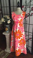 VTG 60s Wom XXS/XS Hawaii Nei Mod Flower Power Waffled Cotton Hawaiian Sun Dress
