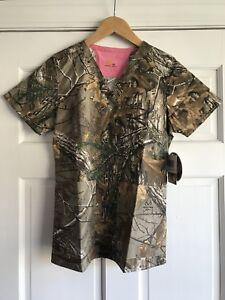 Carhartt Realtree Camo Scrub Top Shirt Womens XS