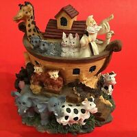 NOAH'S ARK MUSIC BOX FIGURINE PLAYS TALK TO THE ANIMALS VINTAGE GIRAFFES HIPPOS