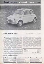 Fiat 500 original period Autocar Road Test 1964