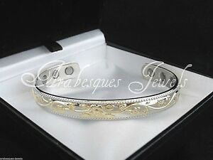 TOP QUALITY LADIES SILVER/GOLD FLOWERS MAGNETIC COPPER BANGLE PAIN RELIEF AJMB