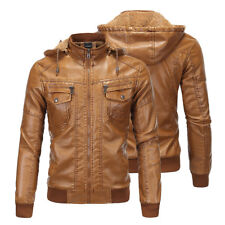 Mens Retro Brown Hooded Sheepskin Fur Leather Bomber Jacket Outwear Coat Tops