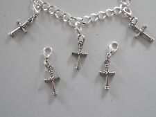 CELTIC CROSS CHRISTIAN 3D charm clip on lobster clasp for charm bracelets
