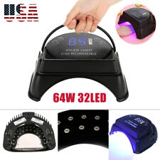 64W Rechargeable Pro Uv Led Gel Nail Light Art Polish Dryer Manicure Timer Lamp