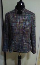 COLDWATER CREEK SHAPED ZIP UP BLAZER JACKET SIZE 16 MULTI COLORED TWEED