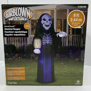 8' Gemmy Airblown Inflatable Short Circuit Skeleton Reaper w/ Lantern Halloween
