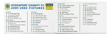 ITV Digital Like Clubcall Football Fixture List Card 2001-2002 Season- Stockport