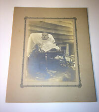 Antique Cabinet Card Photograph of Special Needs Child on Porch Rocker C.1900