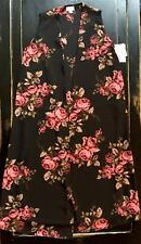 STUNNING NWT S LuLaRoe PINK WATERCOLOR ROSES On BLACK Joy Vest Top UNICORN Small