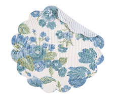 LAUREL Quilted Reversible Round Placemat by C&F - Blue, Green Flowers on White
