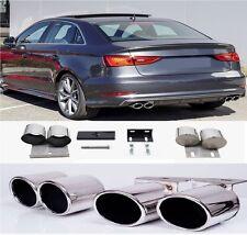 Duplex Auspuff Endrohre Blende Exhaust passend für Audi A3 8V Limo Sportback #58