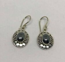 Genuine Hematite Oval Dot 925 Sterling Silver Earrings Jewellery Next Day Post
