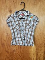Panhandle Slim Floral Silver Thread Plaid Western Rodeo V-Neck S/S Womens M