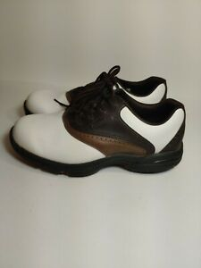 FootJoy Golf Shoes US Men's 8.5W White/Brown Oxford Style Soft Cleat EUC