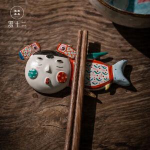 Chinese Jingdezhen Pottery Porcelain Pure Hand Painted Mermaid Chopstick Rest