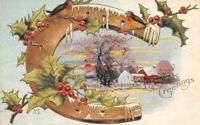 CPA Fantaisie  - Joyeux Noël - Fer a cheval, houx et paysage de neige