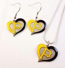 MLB Pittsburgh Pirates HEART Necklace/erring Set Baseball Sports jewelry AMINCO