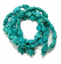 """Blue 15x18mm Turtle Chalk Turquoise Dyed Mix  Beads 15"""" of 44"""