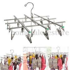 Stainless Steel Folded Socks Drying Rack Hanging Pins Clip Laundry Clamp 20 Pegs