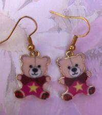 CUTE TEDDY BEAR ENAMELGIRLS DROP EARRINGS  Gold Plated Hooks in Gift Bag