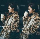 Womans Rabbit Fur Leopard Lapel Collar Mid Long Parka S-6XL Plus Size Outwear sz