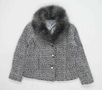 Per Una Womens Size 12 Wool Blend Herringbone Grey Faux Fur Collar Coat