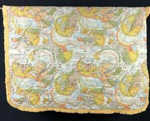 "Vintage Sears 33"" x 42"" Yellow ABC puppy dog Baby Blanket Bear Birds Ruffle Edge"