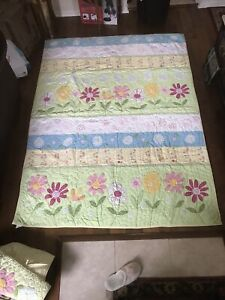 Pottery Barn Kids Floral Quilt + 3 Curtain Valances