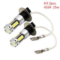 2Pcs High Power White H3 4014 1100LM 25W LED Car Fog DRL Light Bulb DC 12V 6500K