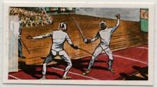 Modern Olympics Fencing Competition Foil Epee Sabre Vintage Ad Trade Card