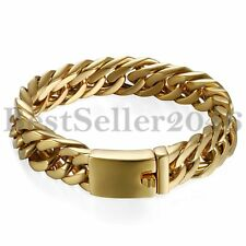 Men's Heavy Gold Stainless Steel Cuban Curb Chain Link ID Bracelet Cuff Bangle