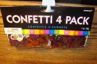 4 Pack Multi-Color Birthday- Stars-Balloons-Printed Confetti 1 oz Foil design