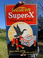 VINTAGE 1947 WESTERN SUPER X SHELLS PORCELAIN ENAMEL SIGN WINCHESTER REMINGTON