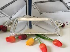 Vintage Silver Plated Oblong Tray With Handles&Legs- Gift-NEW -SALE