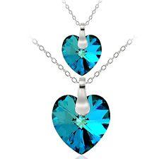 "925 Bermuda Blue Swarovski Elements Mother Daughter Heart Pendant Set, 18"""