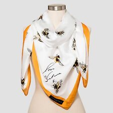 NEW VICTORIA BECKHAM TARGET Bee Scarf with Marigold Trim NWT Yellow White Wrap