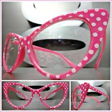 CLASSIC RETRO CAT EYE Style Clear Lens EYE GLASSES Pink Frame White Polka Dot