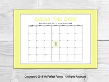 Personalised Guess the Baby's Due Date Game, Yellow Elephant, Neutral Baby