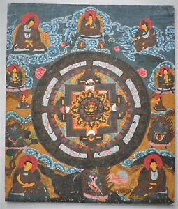 Thangka tangka ancien Tibet Népal toile peinte Mandala Bouddha
