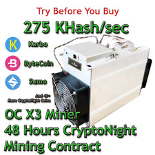 AntMiner X3 Over Clocked 275 KHash/sec Guaranteed 72 Hours Contract CryptoNight
