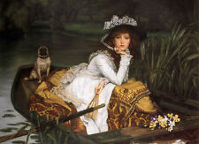 Art Oil painting Joseph Tissot - Young Lady in a Boat & her pet dog canvas 36""
