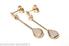 9ct Gold Opal long teardrop earrings Gift Boxed, Made in UK Xmas Christmas Gift