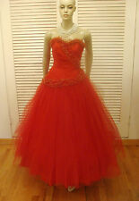 40s VINTAGE DRAMA QUEEN EMMA DOMB RED TULLE GOLD TRIMMED PARTY PROM DRESS XS