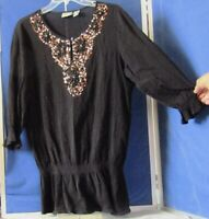 EUC Pretty CHICO'S Black TUNIC TOP w. BLING & Elastic at Hip 3/4 Sl COTTOn Sz 2