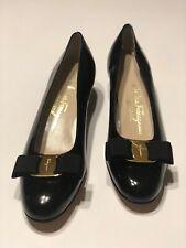 SALVATORE FERRAGAMO  Bow Ladies  7 AAAA Black Leather Low Heel Shoes