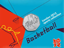 2012 50p OLYMPIC 05/29 BASKETBALL COIN ON CARD BRILLIANTLY UNCIRCULATED @